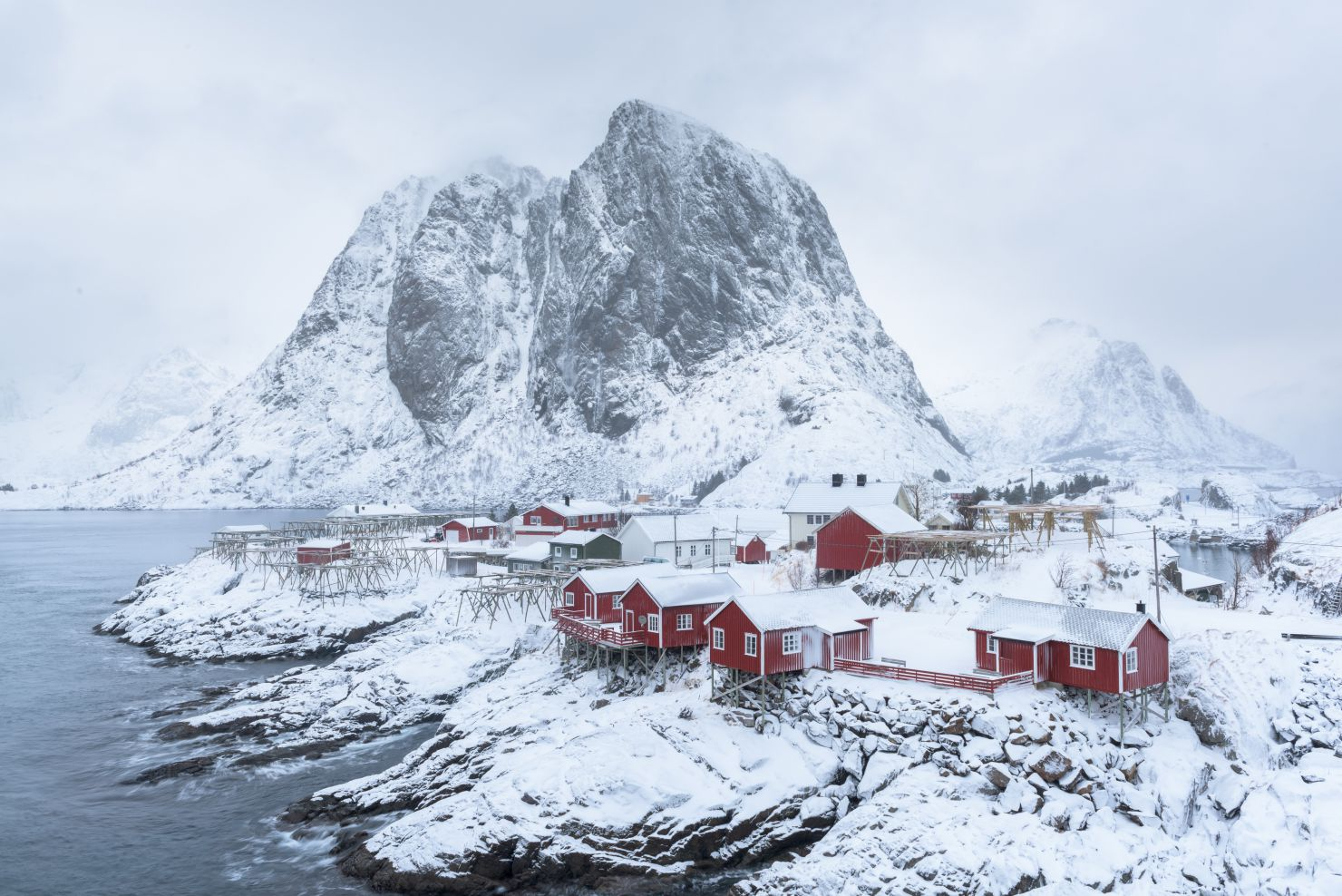 Village of Hamnoy covered in snow