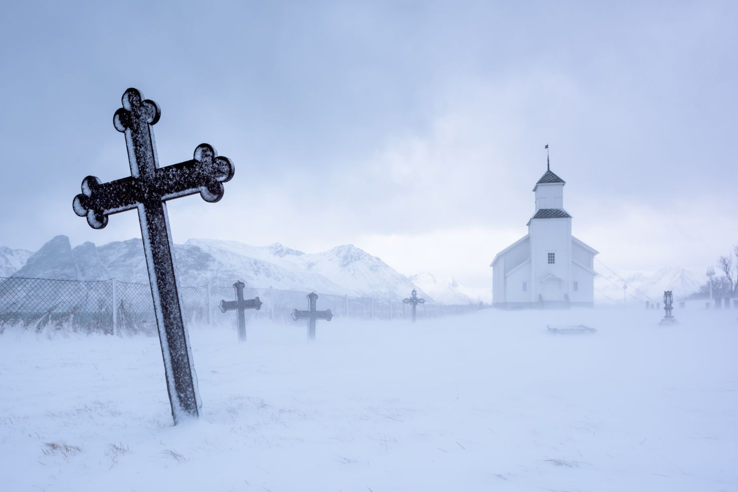 Church in snowstorm