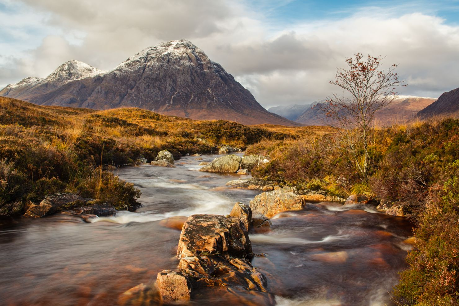 Mountain and river in Scotland