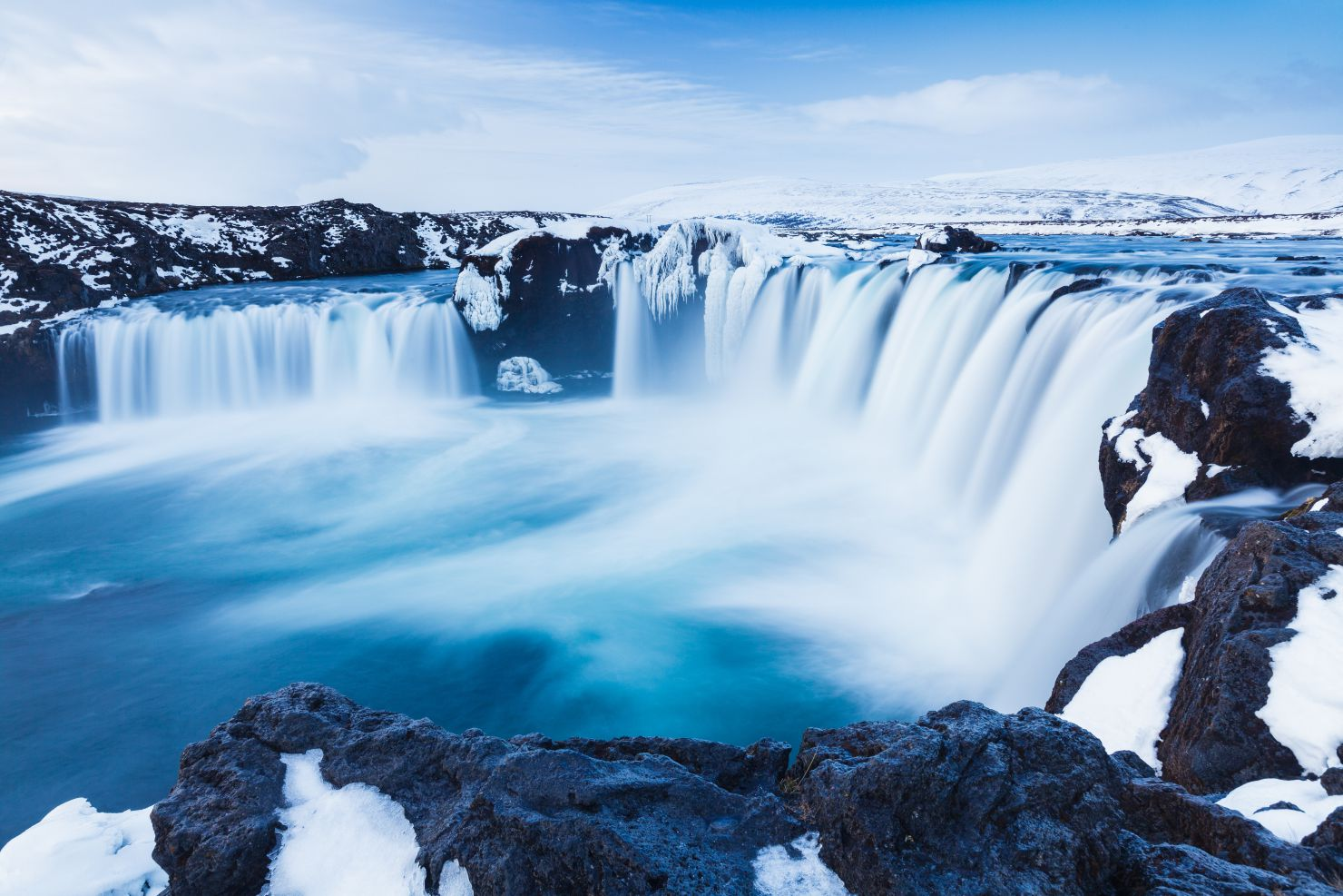 Waterval Godafoss in de winter